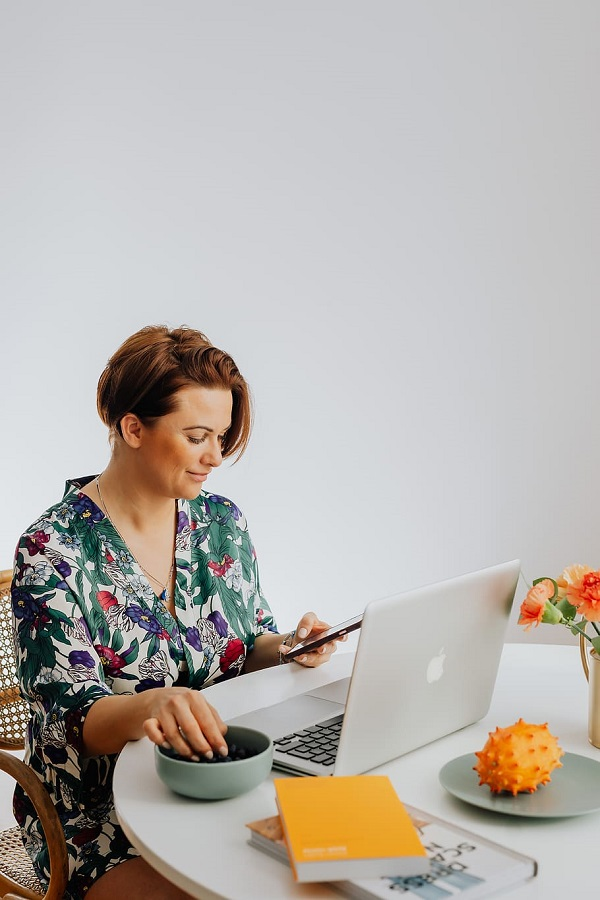 work from home woman laptop