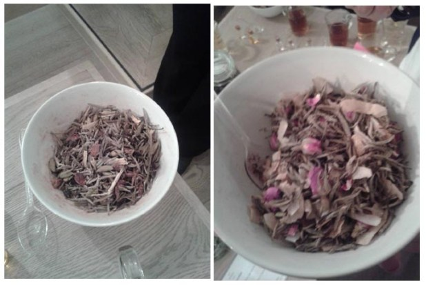 My special blend: Silver Needle with coconut, cranberries, rosebuds, cinnamon & ginger oil.