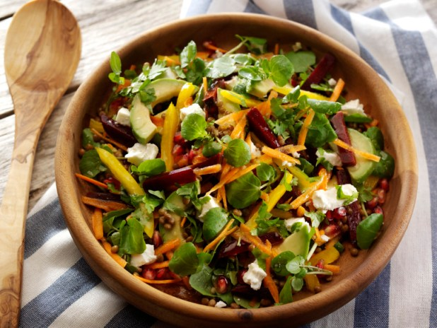 The Ultimate Salad Watercress Rainbow Salad with Feta, Beetroot, Carrots, Lentils, Pomegranate and Avocado