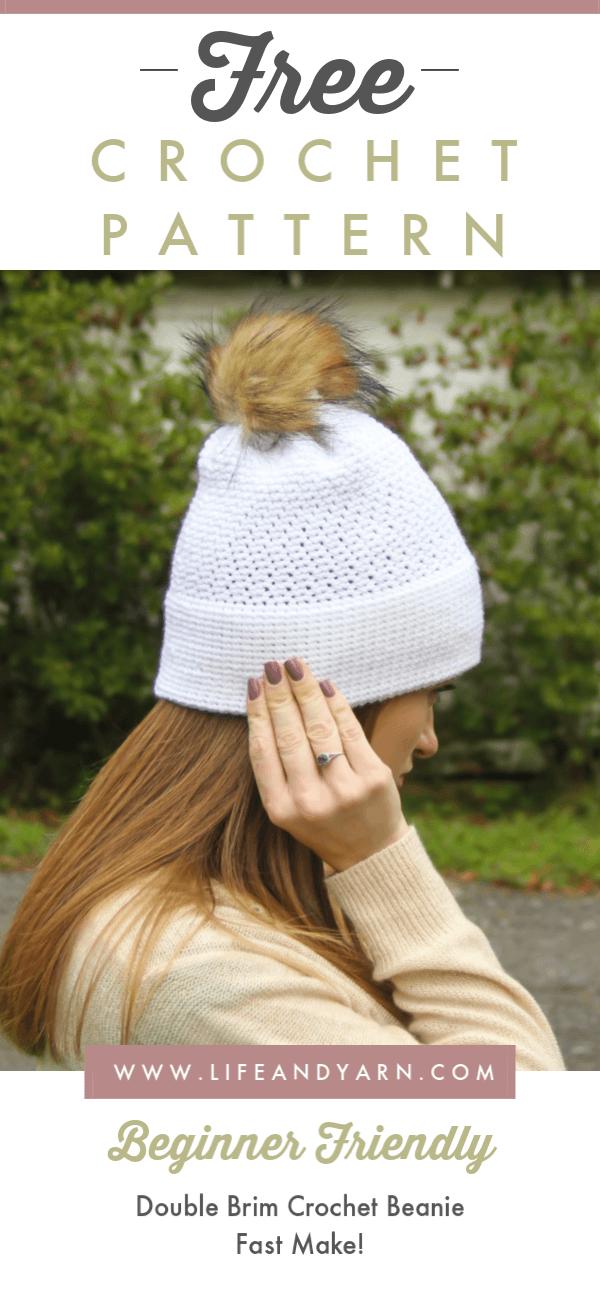 free crochet double brim beanie pattern