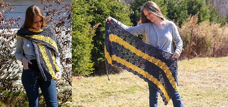 color blocked shawl pattern Leona