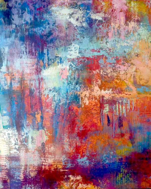 Cold Wax Abstract Painting by Leonie.e.Brown