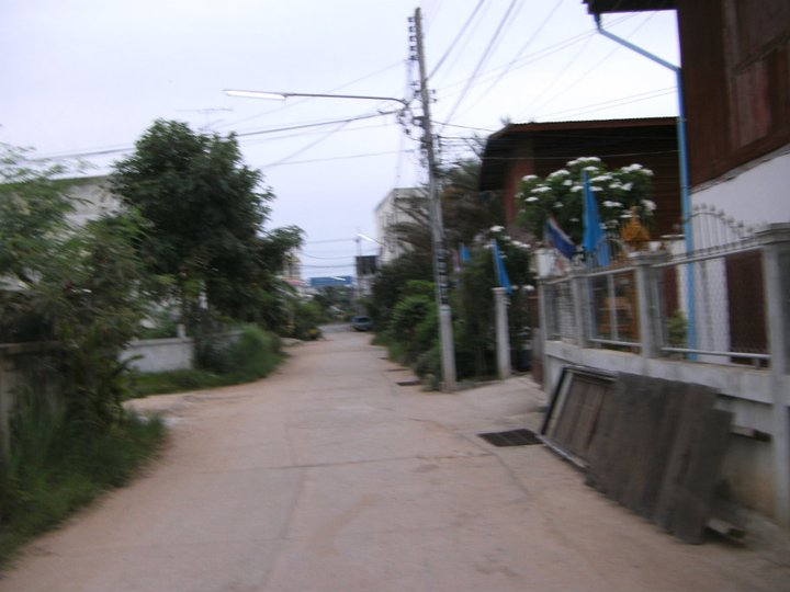 Dirt road leading from my apartment in rural thailand
