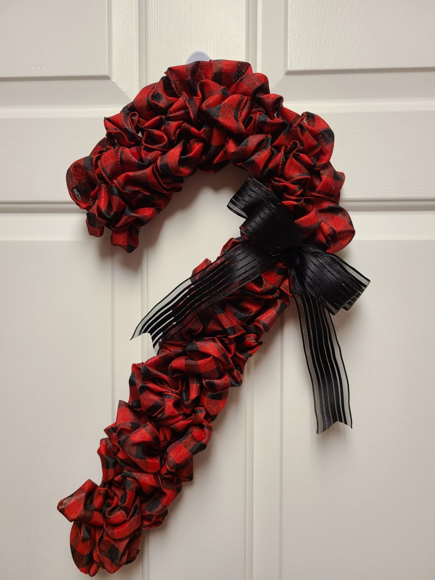 Red buffalo check Christmas candy cane wreath