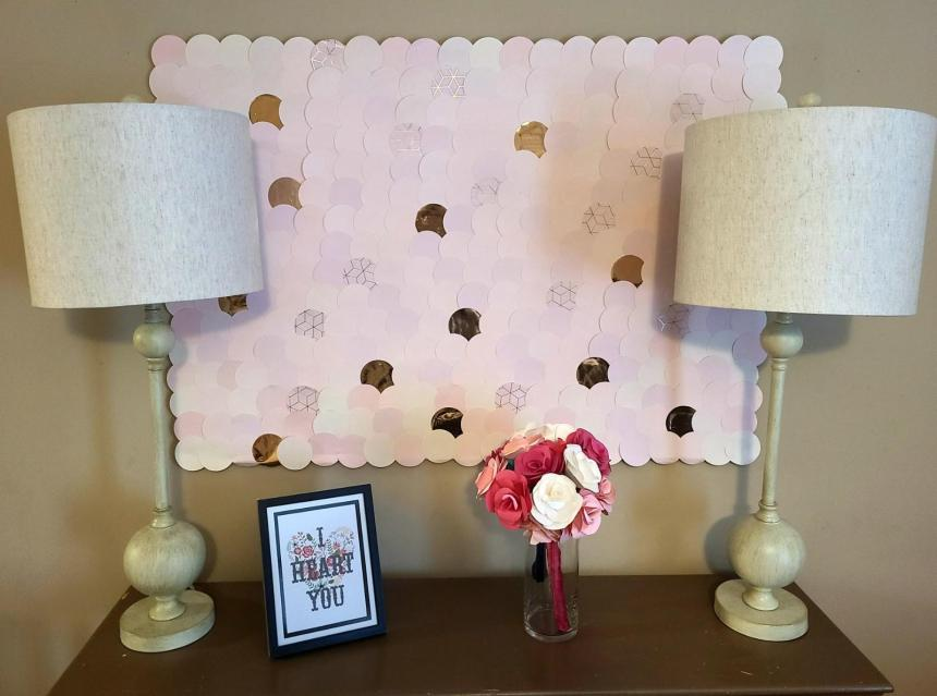 Blush and rose gold DIY Valentine's Day Decor. Scallop wall art
