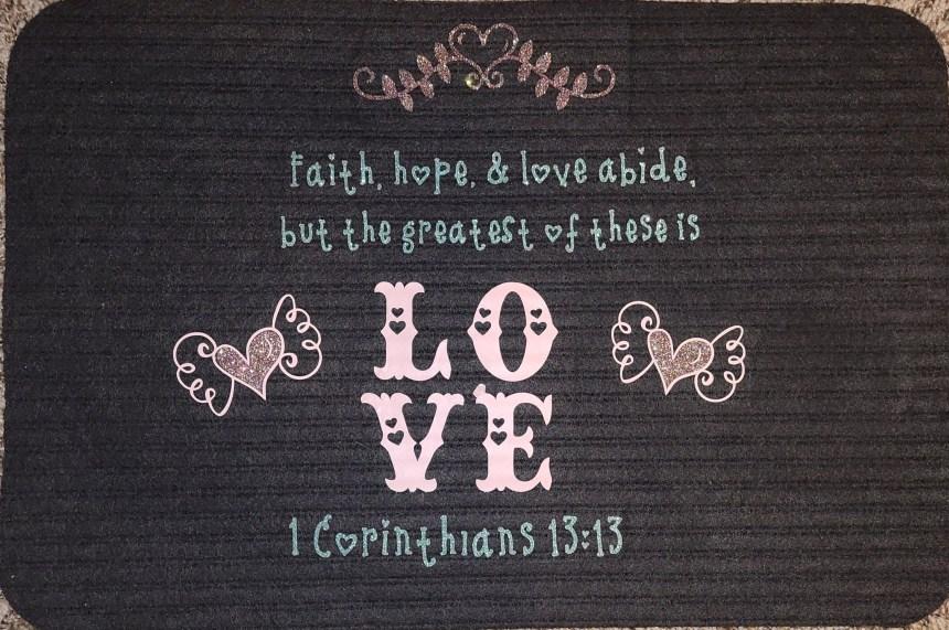 Completed Valentine's Day doormat