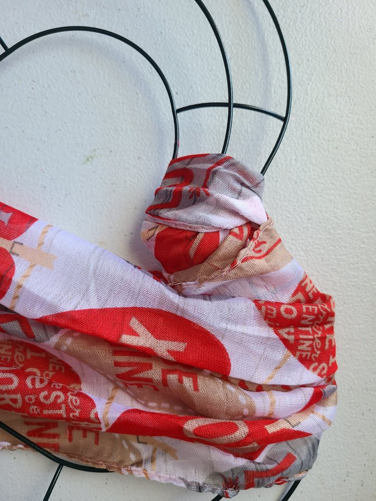 Wrapping scarf around form