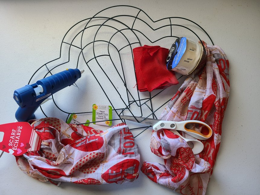 Supplies needed for DIY Valentine's Day heart wreath.