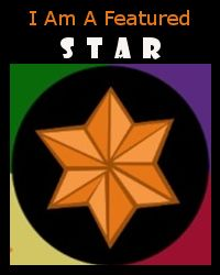 I am Featured Star with gold star and green, red, purple, and yellow.