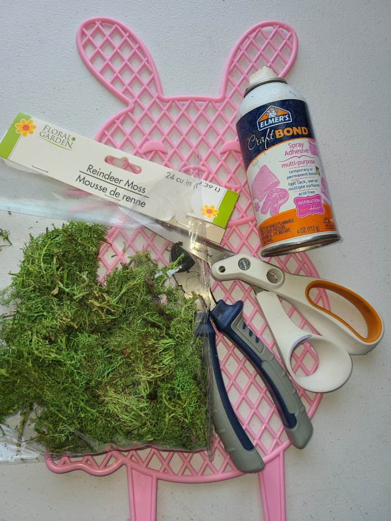 Supplies needed for the moss covered bunny: adhesive spray, scissors, wire cutters, reindeer moss.