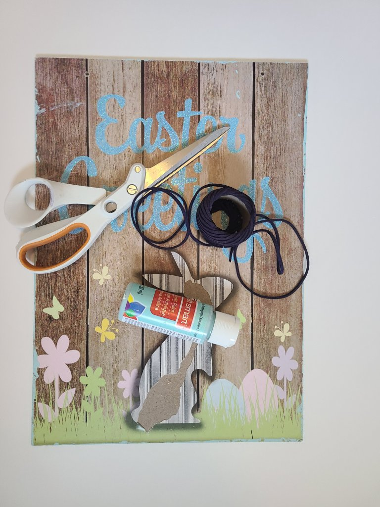 supplies for a Dollar Tree Cricut sign, leather cord, white scissors, robin's egg blue acrylic paint.