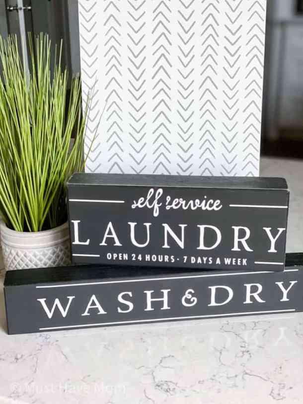 Farmhouse decor with laundry signs