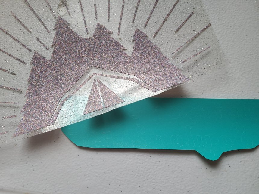 Camp image and teal vinyl words for DIY summer camp autograph pillowcase