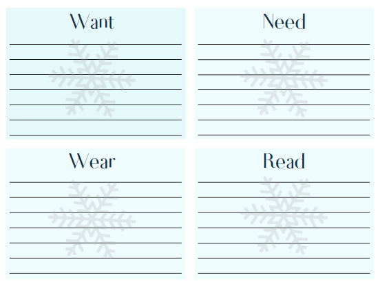 Want, Need, Wear, & Read sections in light blue with silver snowflake behind the lines to write on for the free printable Christmas wish list.