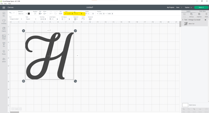 Split letter monogram shown on screenshot of Design Space with size boxes, width and height, highlighted.