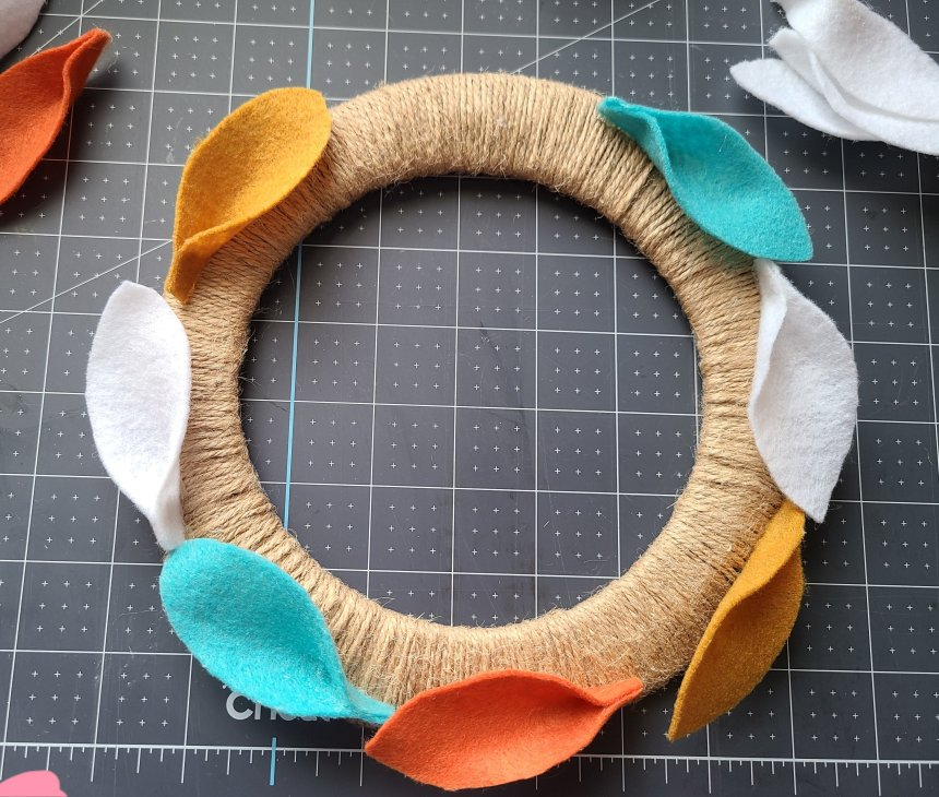 Felt leaf wreath with the leaves glued around the outer edge of the wreath.