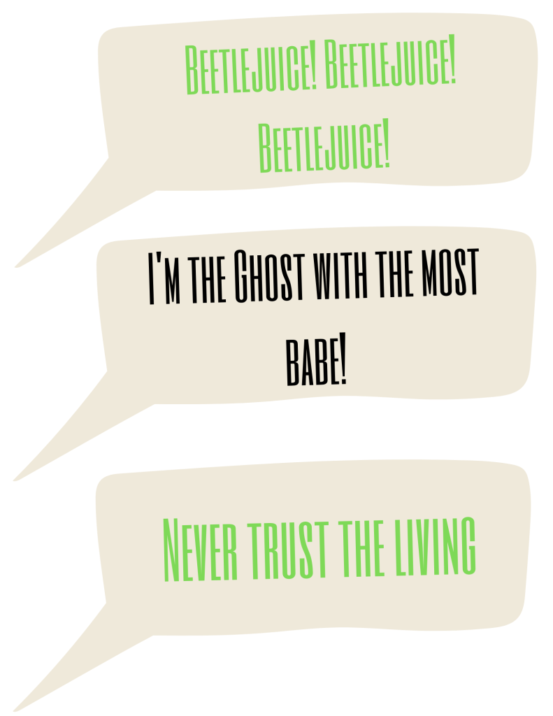 Beetlejuice free printables: photobooth quote bubble props.