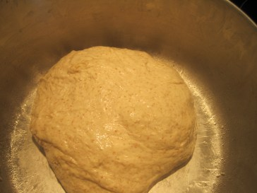 after the 2nd stretch and fold; with each stretch/fold, it becomes a more fluffier and stronger dough. it also started to lose its sticky appearance
