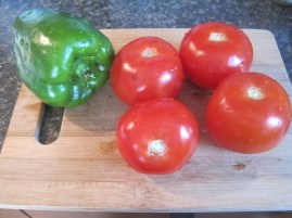 4 tomatoes and 1 bell pepper; grated