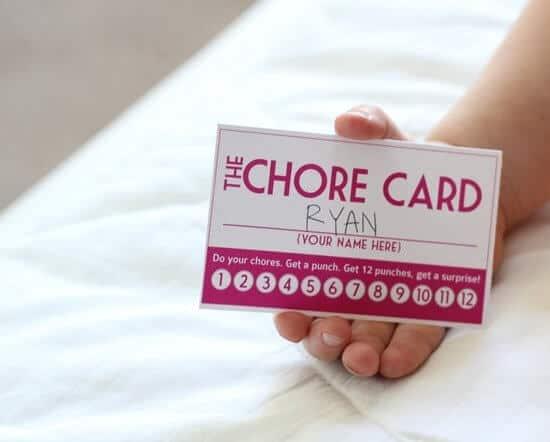 get kids to do chores, chore card
