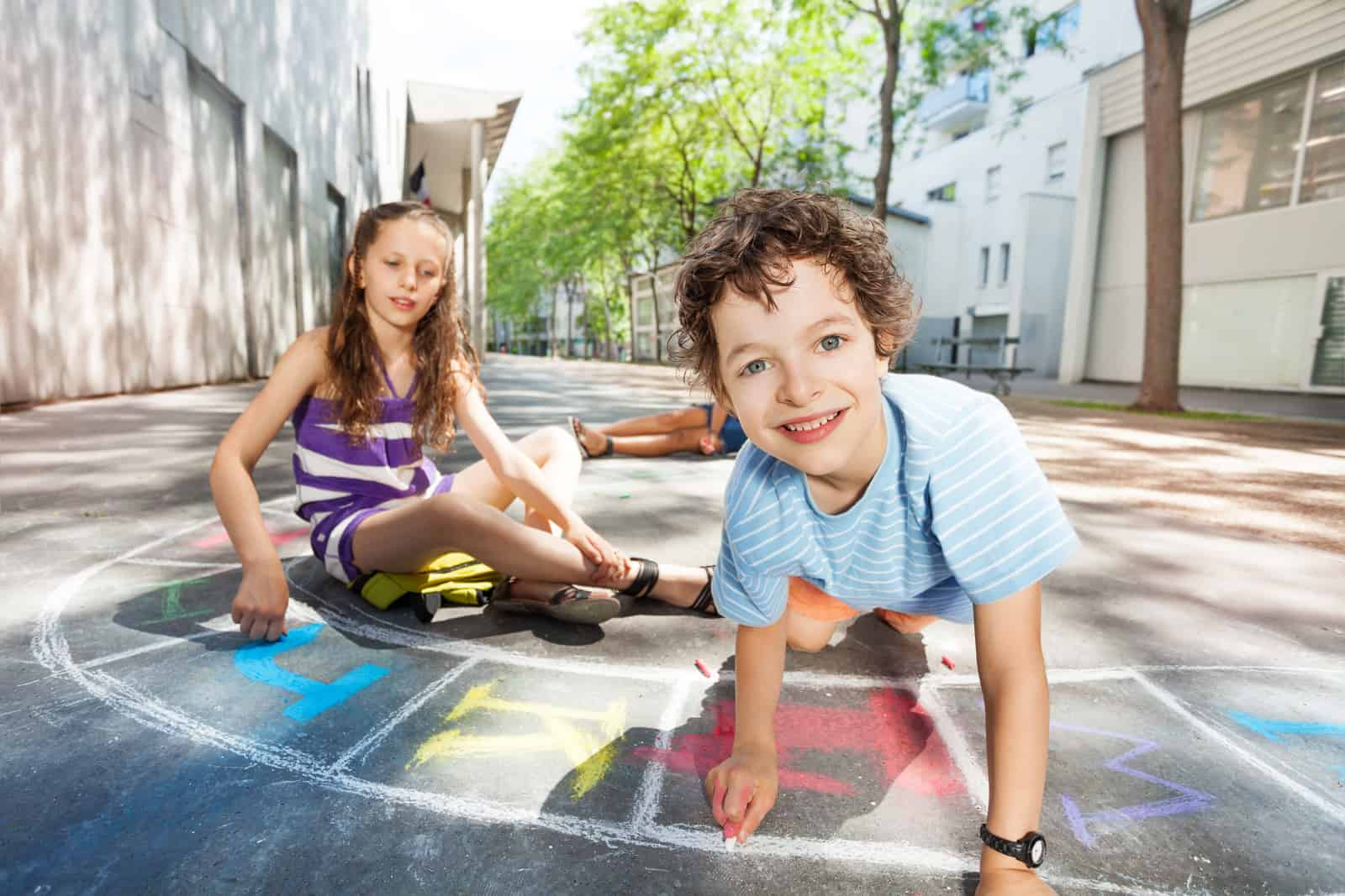 sidewalk chalk hopscotch