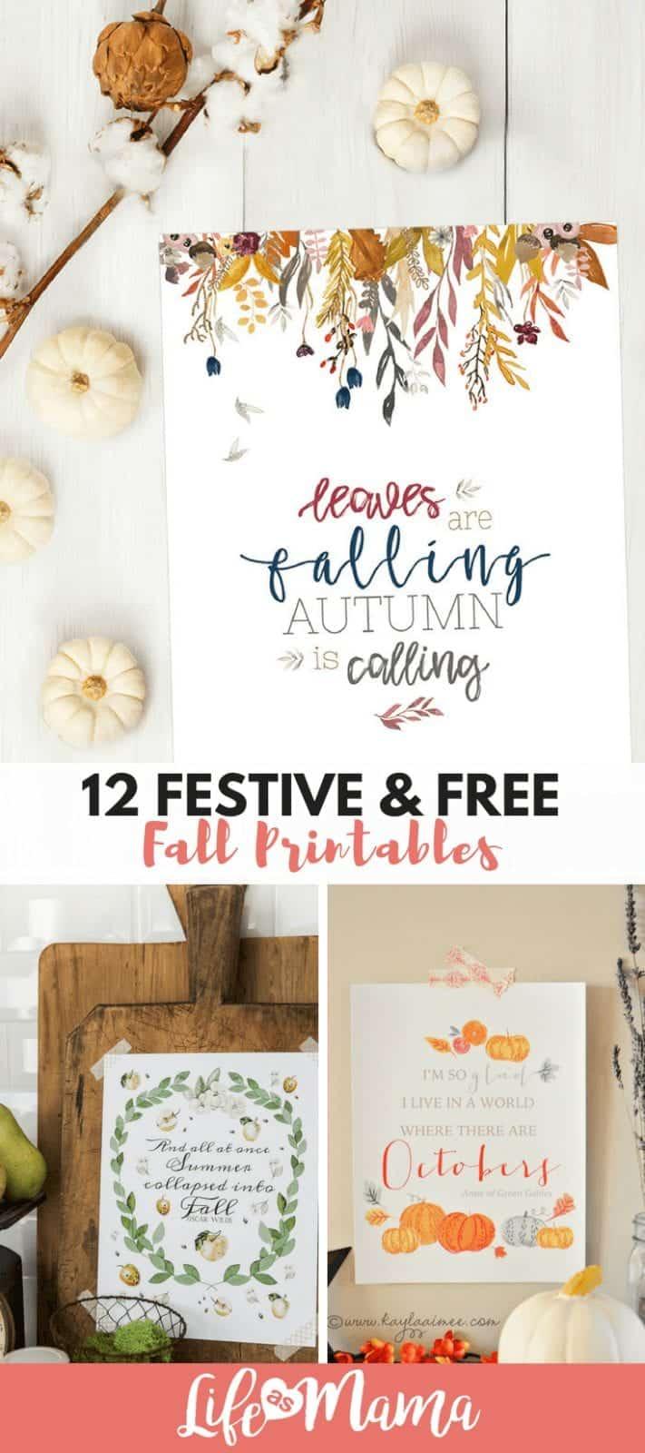 12 Festive & Free Fall Printables