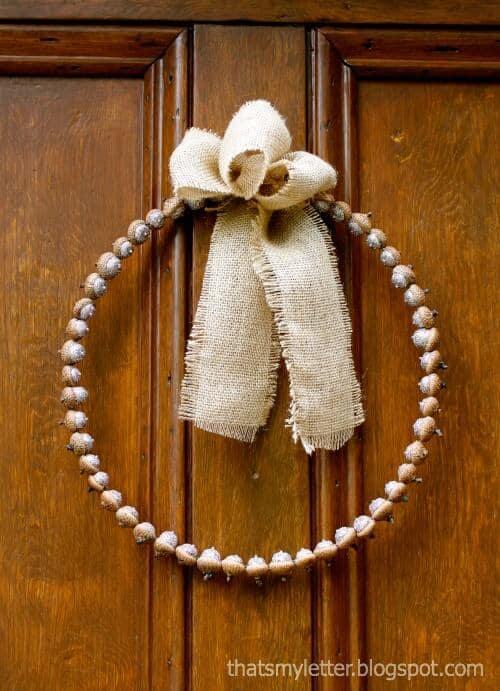 glittered acorn wreath 1