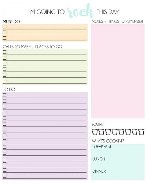 Free Organizers Planners Daily And