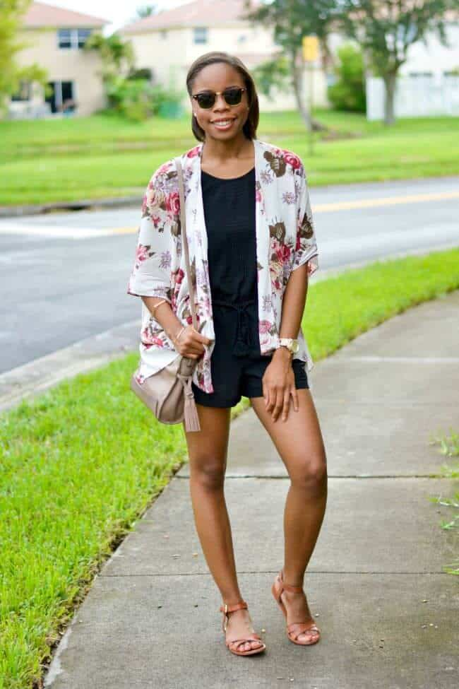 Miami fashion blogger black fashion blogger summer outfit ideas LOFT romper and kimono 1