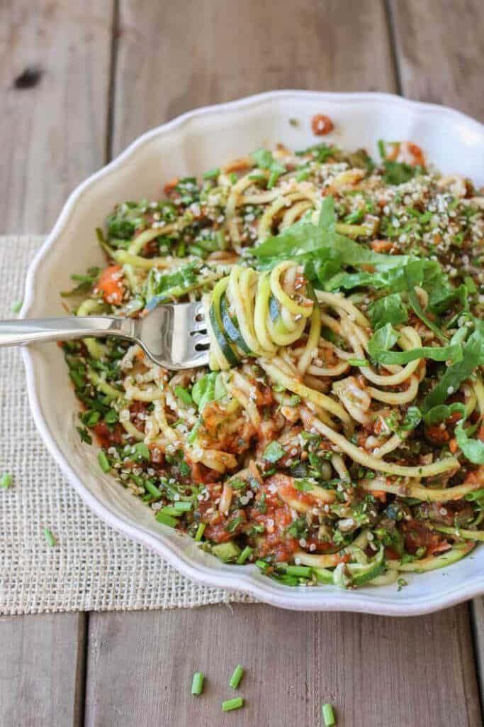 raw-zucchini-noodles-vegetables-49, no-cook dinners
