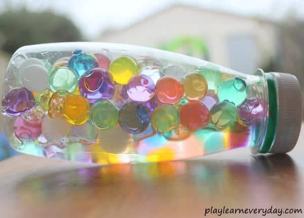 water beads sensory bottle - top image