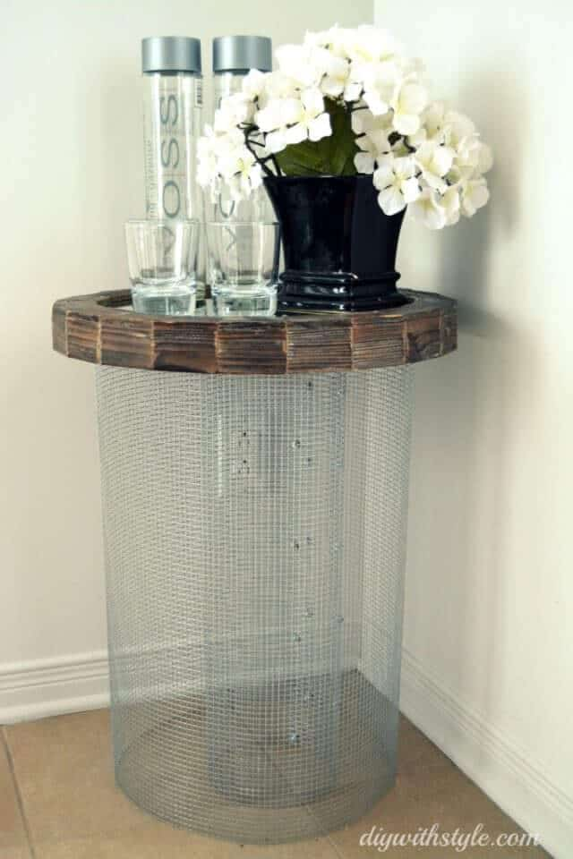 Mesh & Mirror Side Table