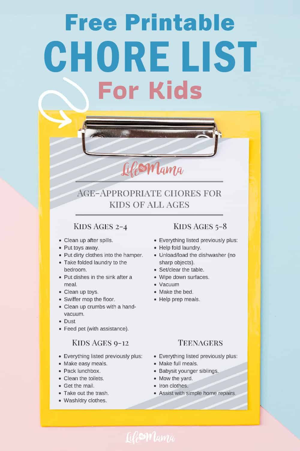 age-appropriate chore list free printable