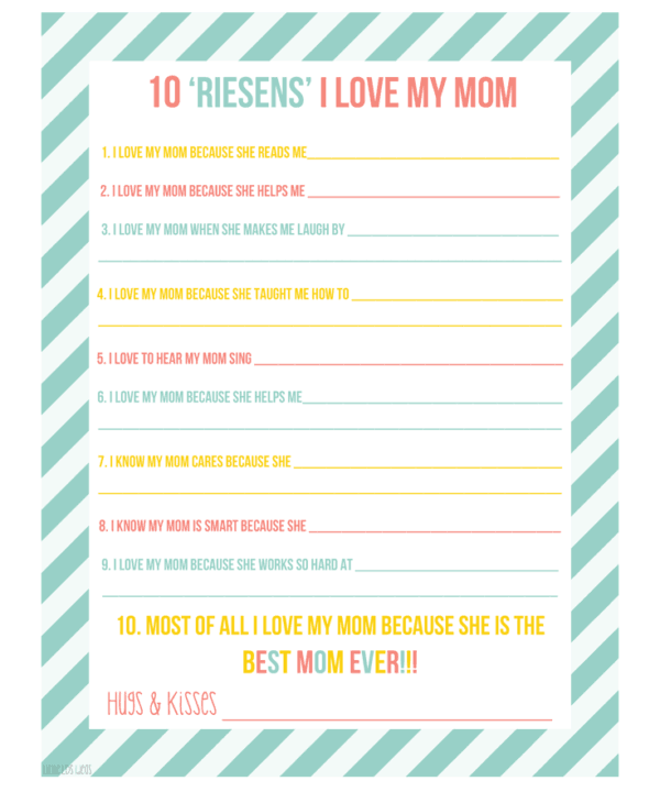 10 Reasons Mother's Day Printable