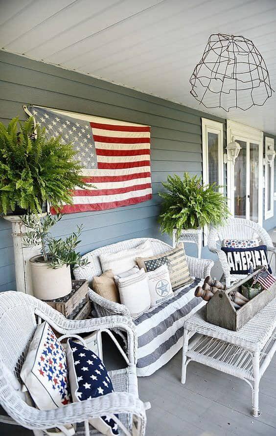 Patriotic front porch