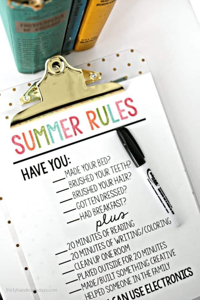 summer chore charts