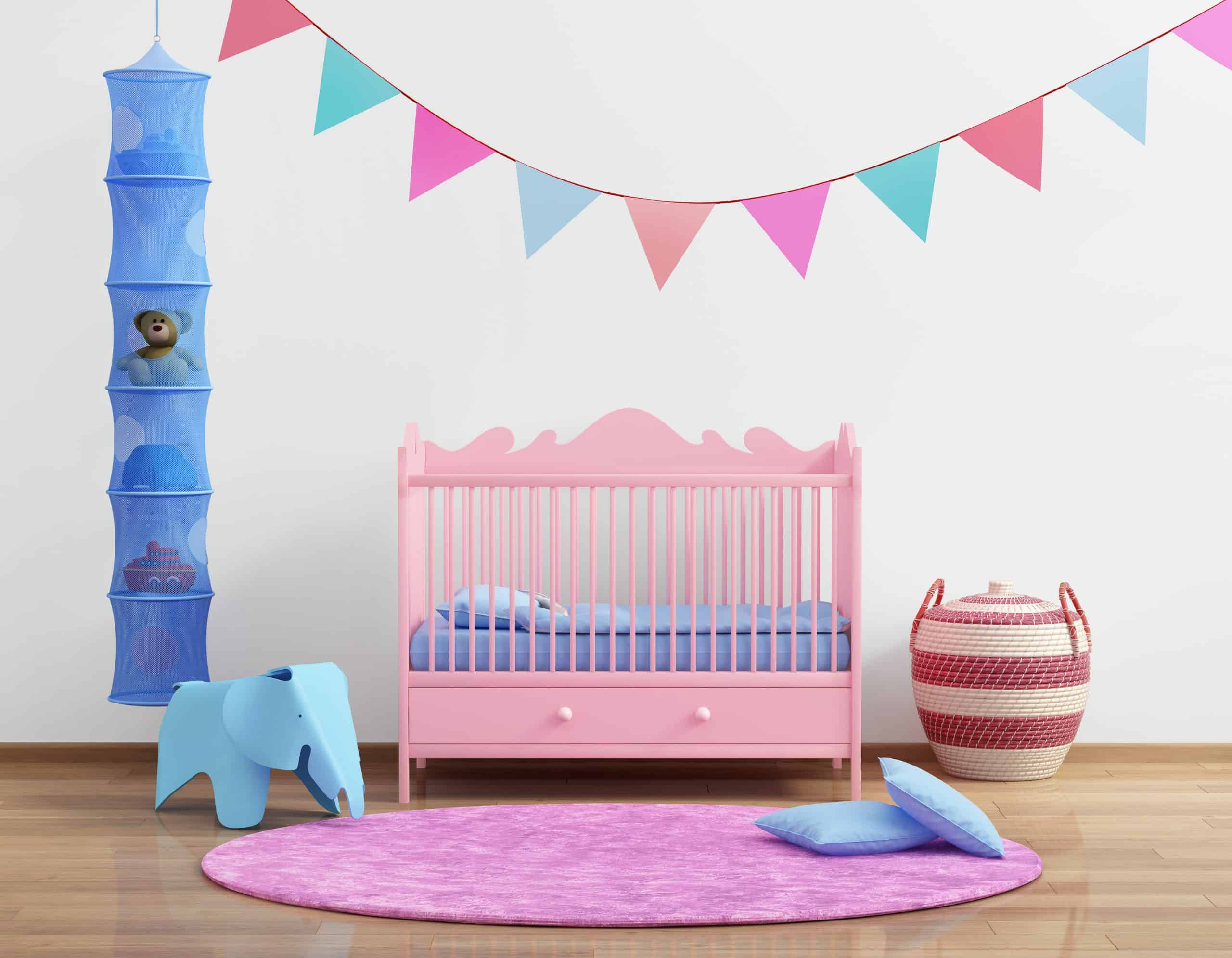 Baby's pink nursery room rug for kids room with flags and rug