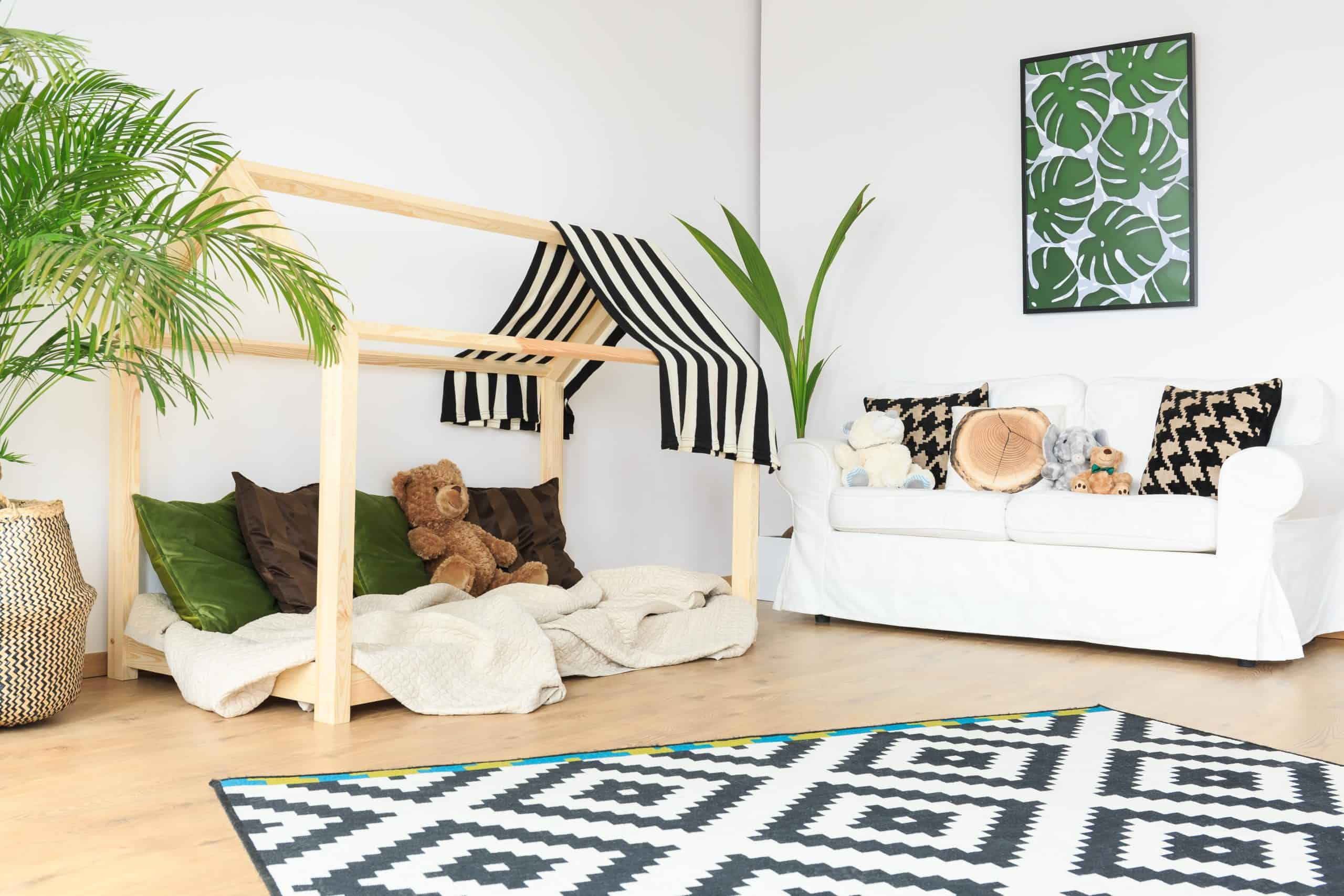 rug for child's room Clean tranquil open space in natural bright kids room