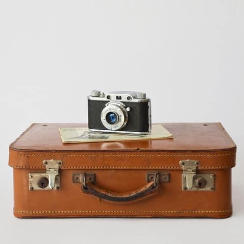 camera on a suitcase