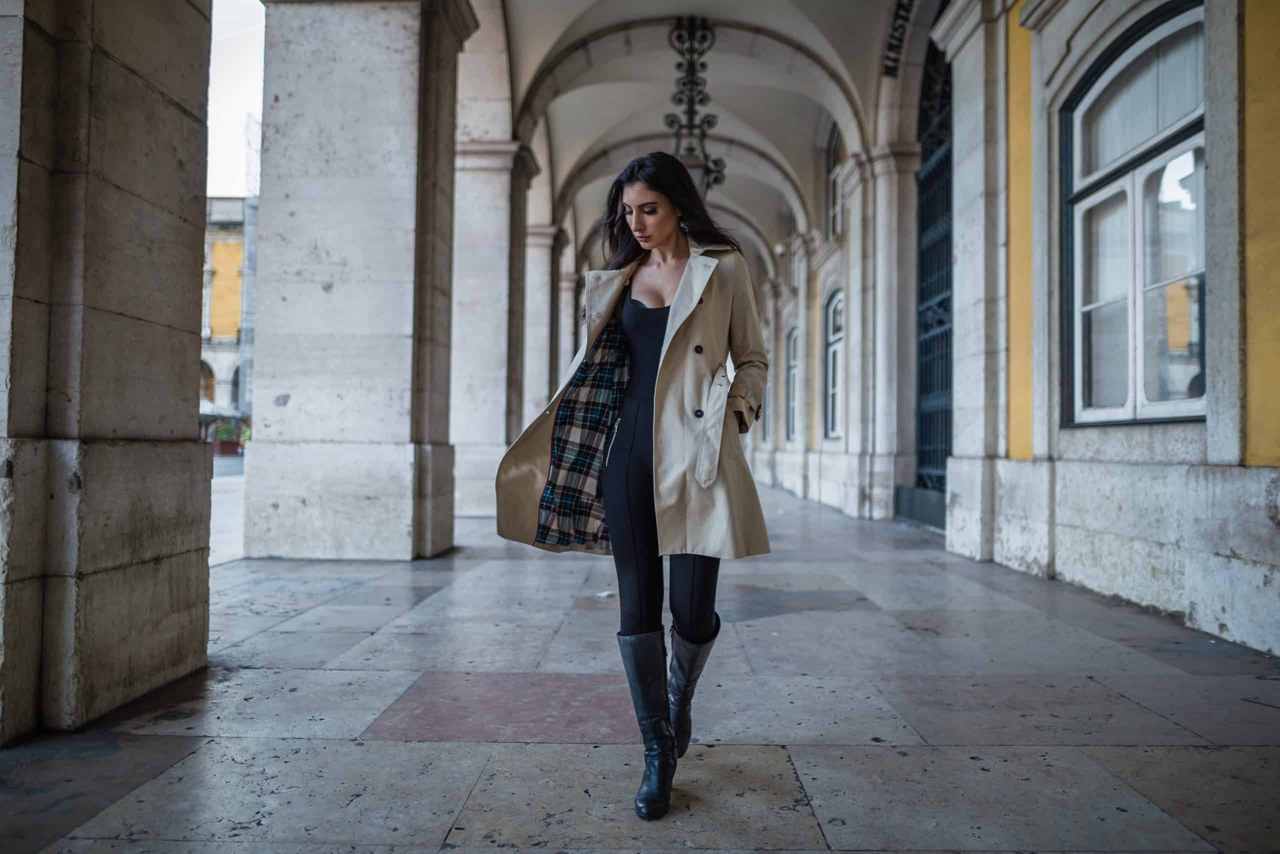 woman walking with big boots and a coat southern fashion styles