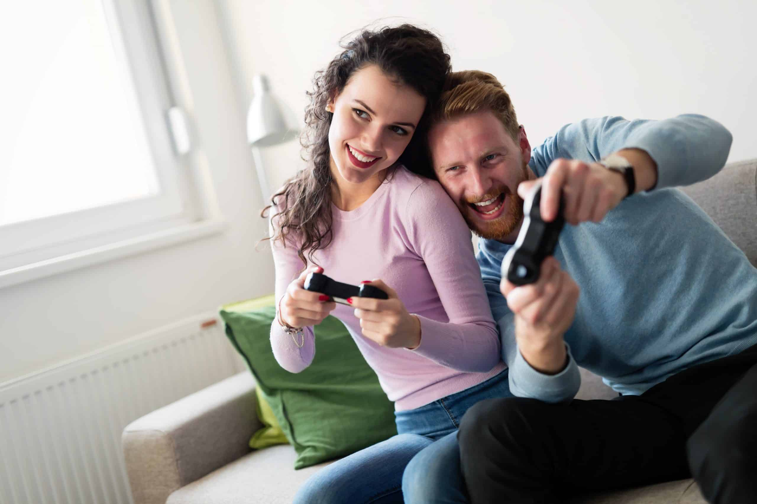 couple playing video games date night