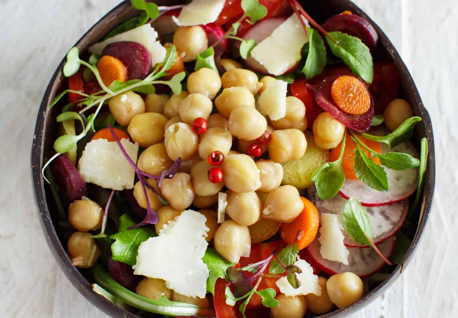Chickpea salad with vegetables and microgreens, family recipes
