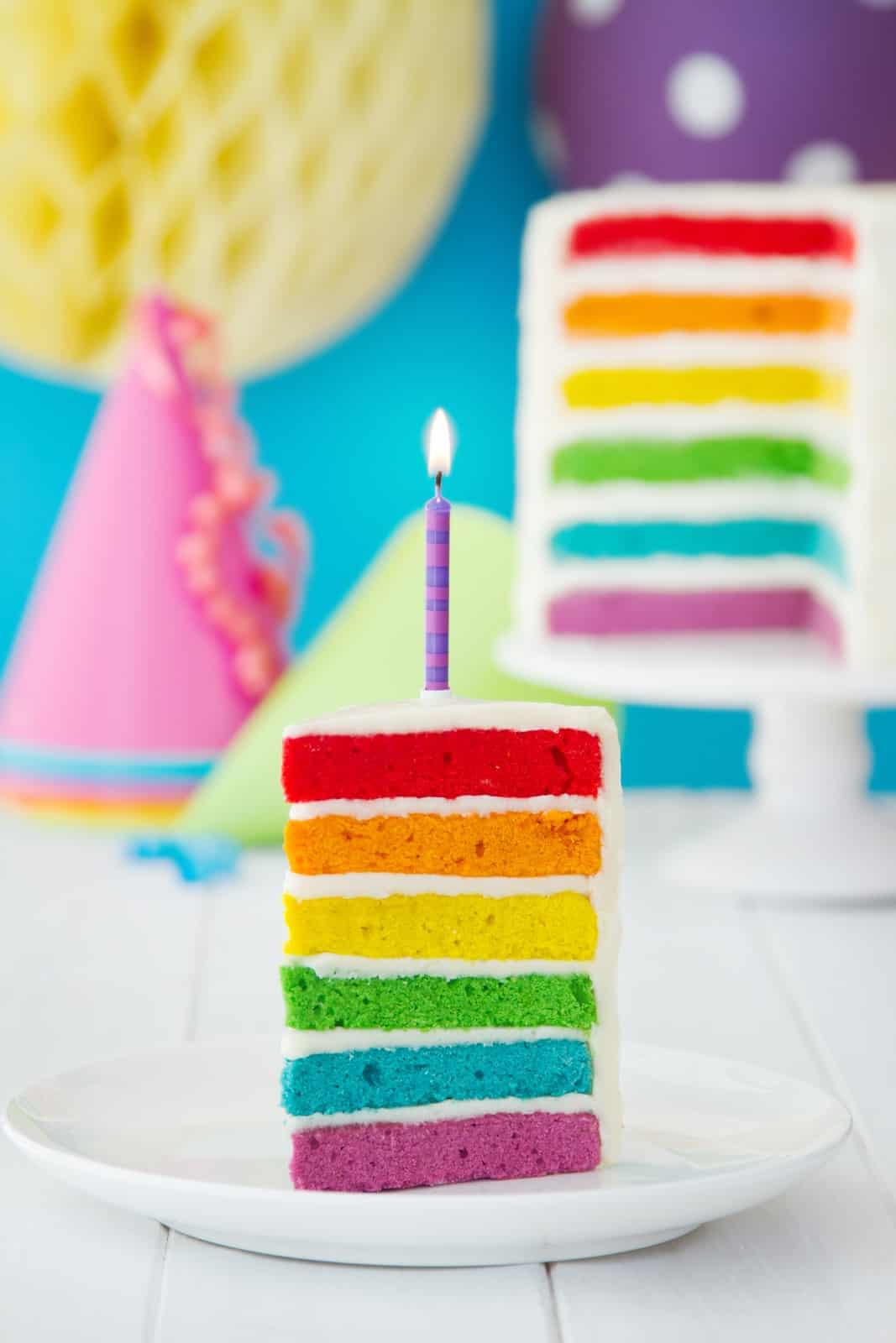 Canva - Colorful Slice of Rainbow Birthday Cake