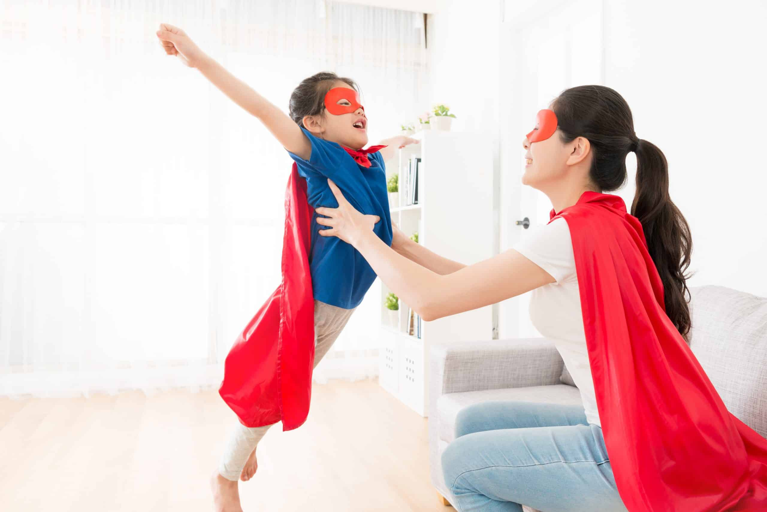 mom and girl playing superhero, kids creative activities at home