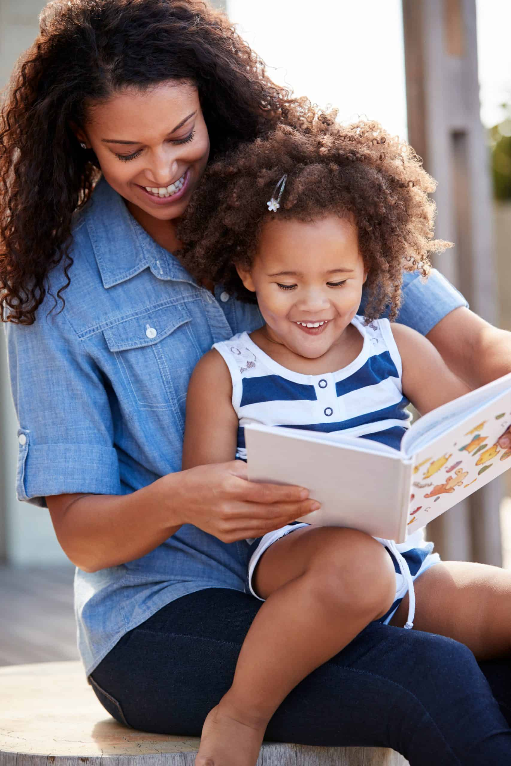 young girl and mom reading, kids creative activities at home