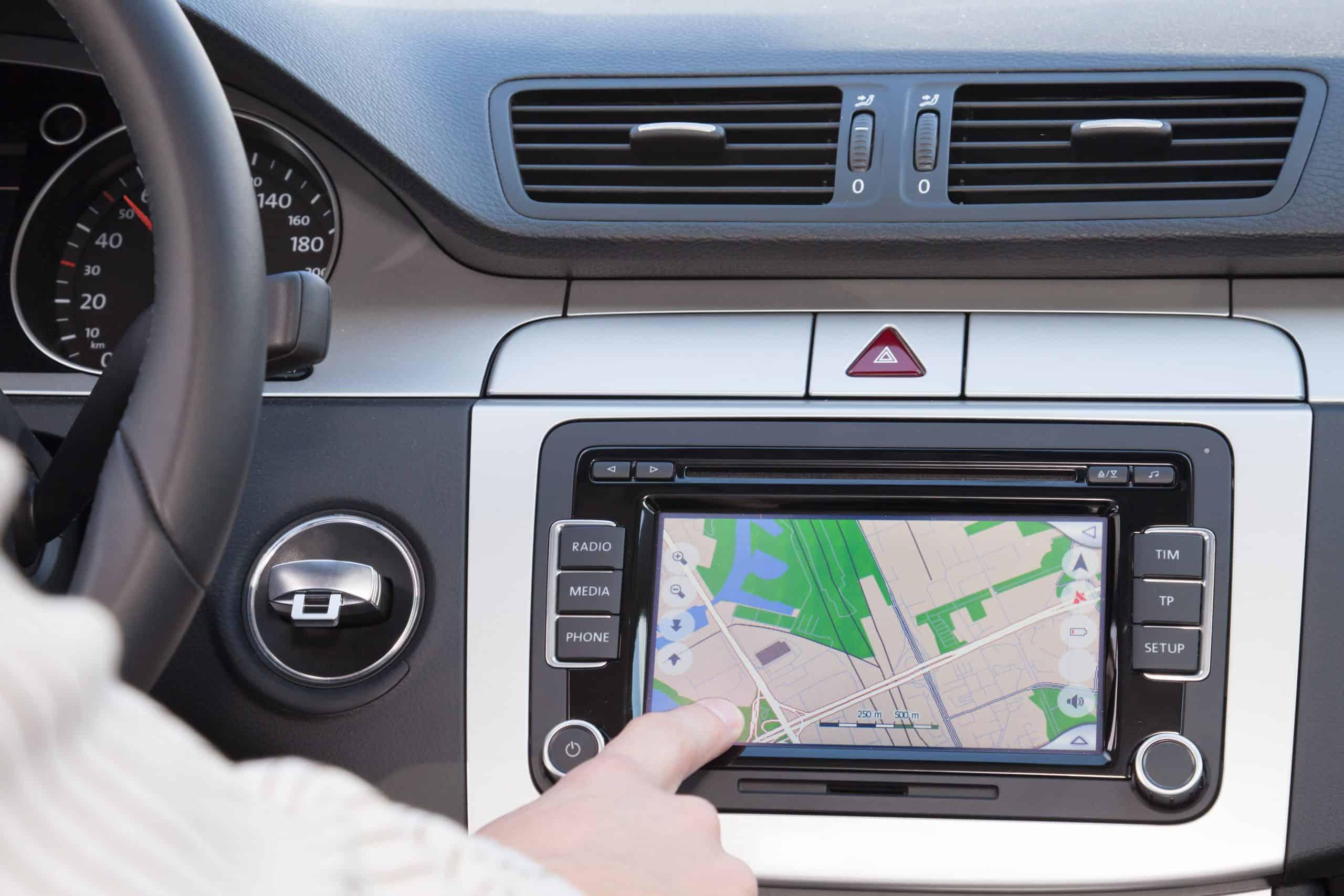 GPS navigation in modern, teen driver technology car