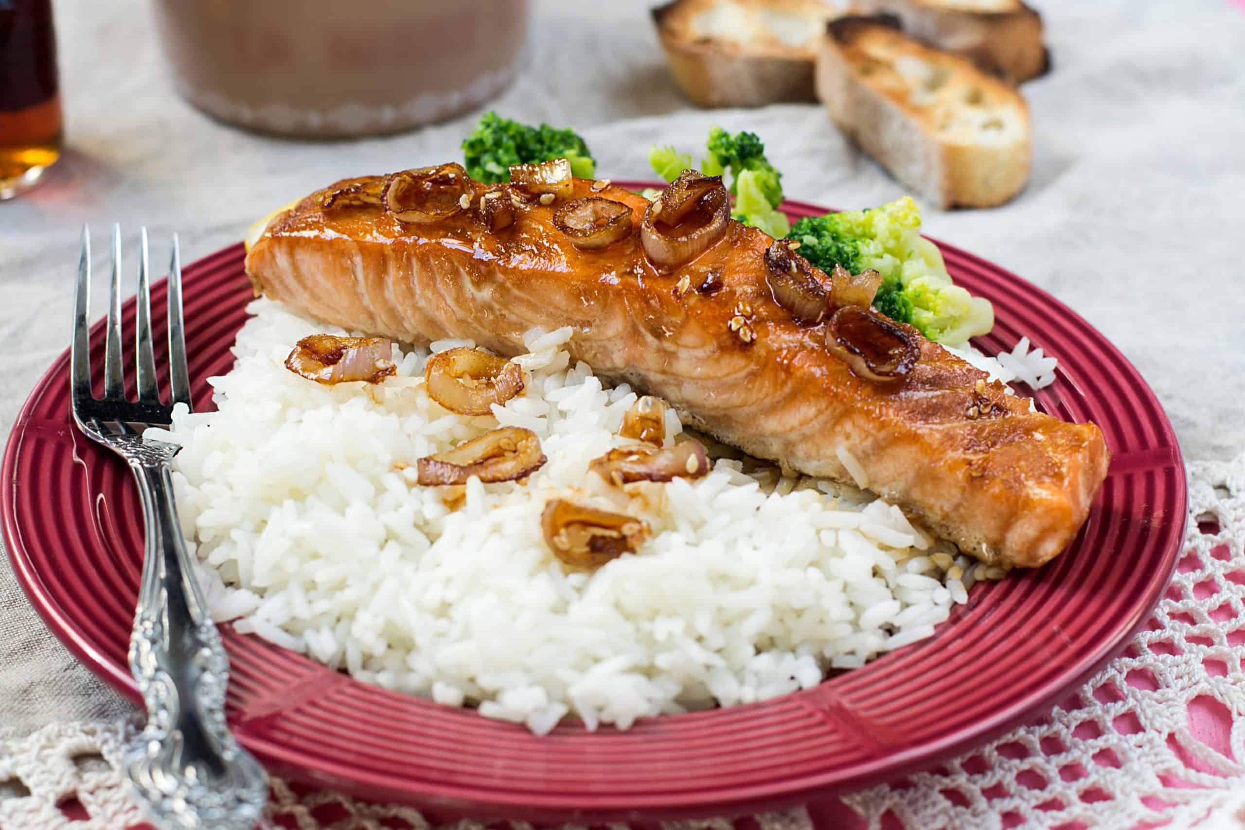 Maple glazed salmon with caramelized onions and rice, air fryer recipe