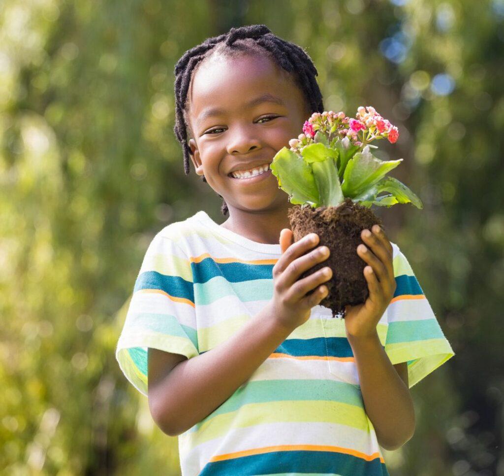 planting flower, screen-free activities