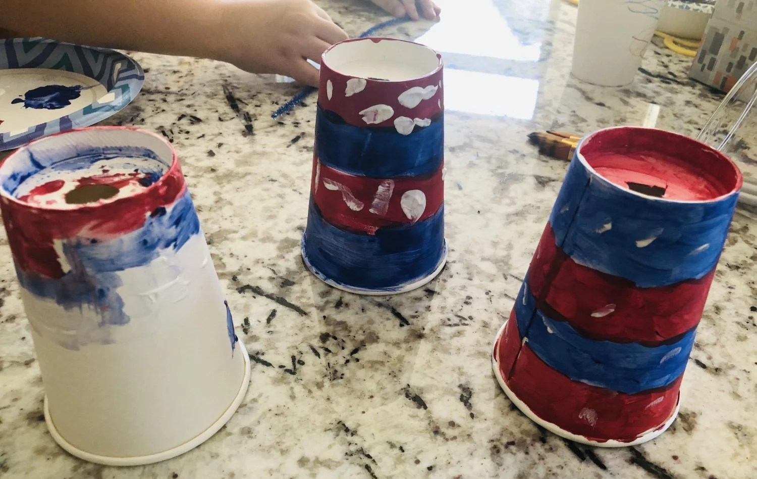 fireworks centerpiece, painting cups