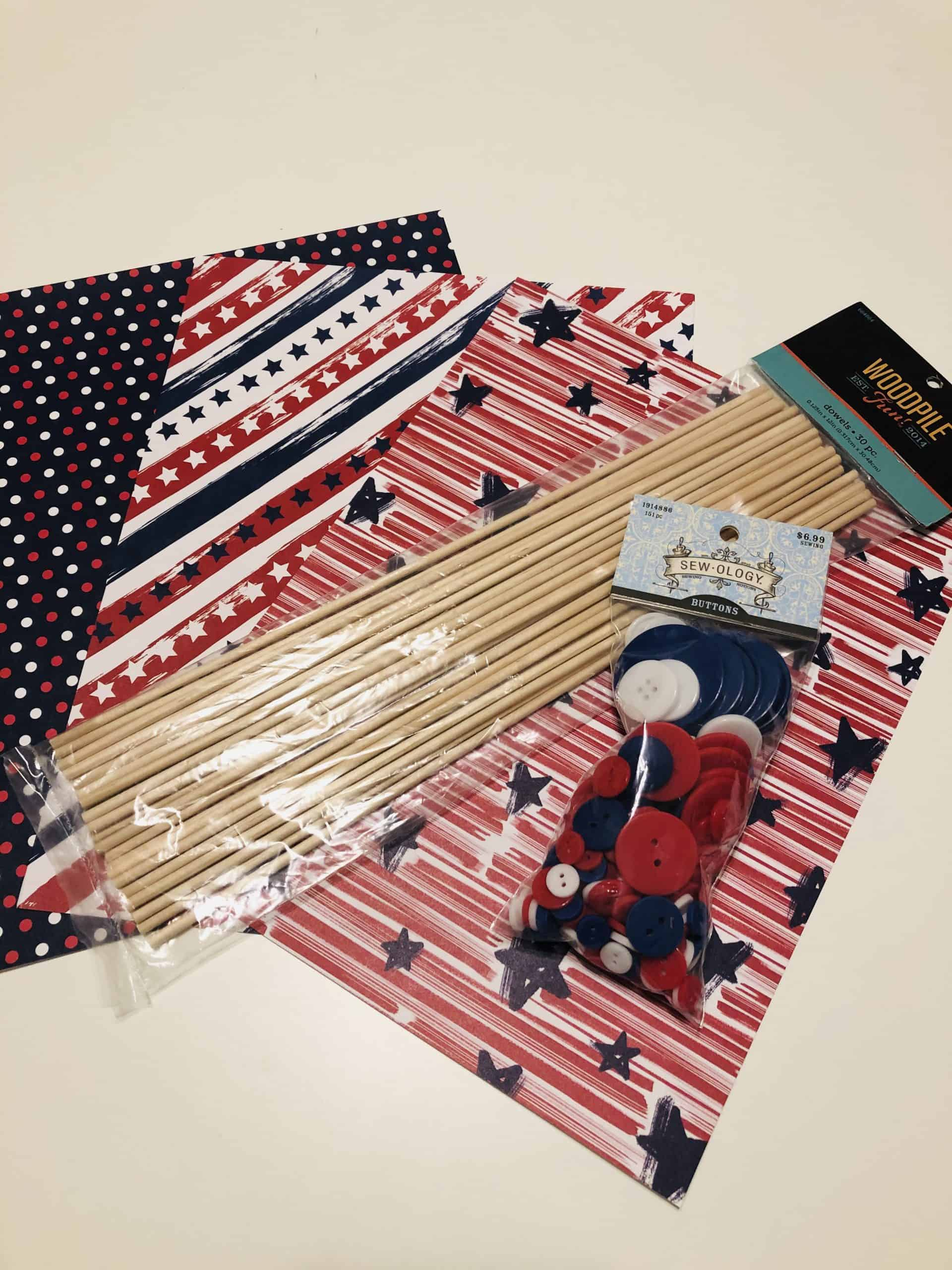 4th of july craft supplies for pinwheel